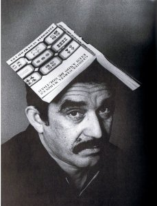 "Gabriel Garcia Marquez with ""One Hundred Years of Solitude"" on his head"